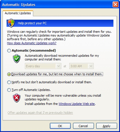 how to turn on automatic updates windows
